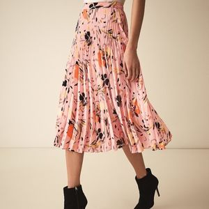 REISS Andy Floral Pleated Skirt